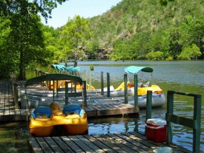 At Beavers Bend Land & Water Park, located inside of Beavers Bend Resort Park there are bumper boats, paddle boats, and canoes.